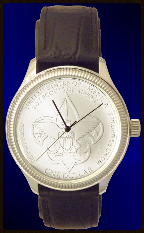 Boy Scouts of America Commemorative Silver Dollar Mens Coin Watch With Uncirculated Coin and Leather Strap  DS111-BSA1-5