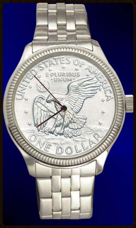 Apollo Landing Dollar Mens Bracelet Coin Watch With Uncirculated Coin and Stainless Steel Bracelet DS111-LD1-1