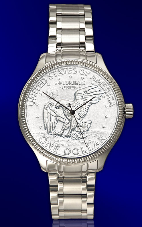 Apollo Landing Dollar Mens Bracelet Coin Watch With Uncirculated Coin and Stainless Steel Luxury Bracelet DS111-LD1-1LX