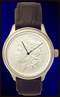 Morgan Silver Dollar Mens Coin Watch With Uncirculated Coin and Leather Strap