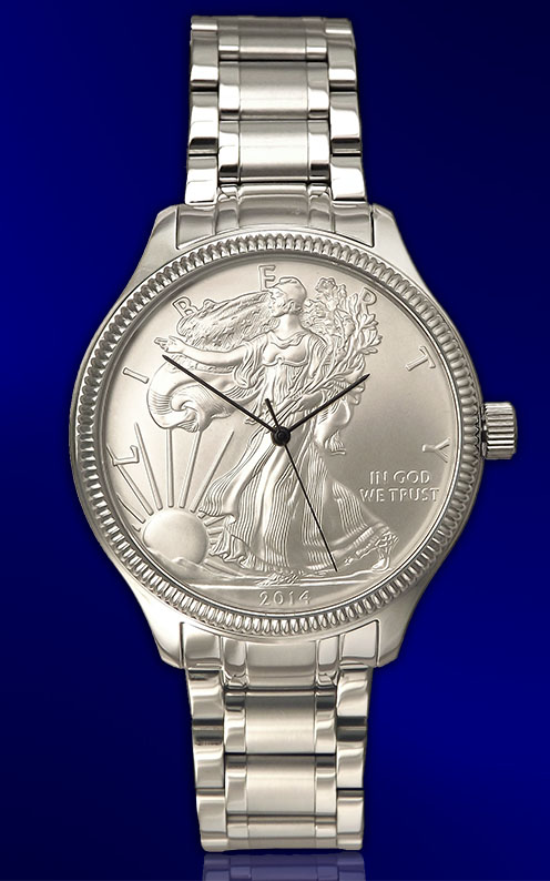Silver Eagle Uncirculated Dollar Mens Bracelet Coin Watch