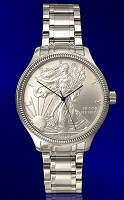 Silver Eagle Uncirculated Dollar Mens  Bracelet Coin Watch DSB111-SB1-1LX