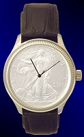Silver Eagle Dollar Mens Coin Watch With Uncirculated Bullion Coin and Leather Strap