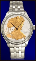 Silver Eagle Dollar Mens AureTone Bracelet Coin Watch