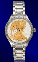 Silver Eagle Dollar Mens AureTone Bracelet Coin Watch DSB111-SB2-1LX