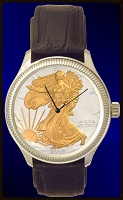 Silver Eagle Dollar Mens AureTone Leather Coin Watch