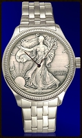 Silver Eagle Dollar Mens Coin Bracelet Watch With Uncirculated Antiqued Bullion Coin