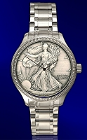 Silver Eagle Antiqued Dollar Mens Bracelet Coin Watch DSB111-SB9-1LX