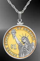 Statue of Liberty Dollar Platinum & Gold Coin Necklace NCM5-PSL4P-20B5