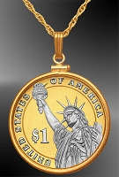 Statue of Liberty Dollar Platinum & Gold Coin Necklace NCM6-PSL4P-20B3