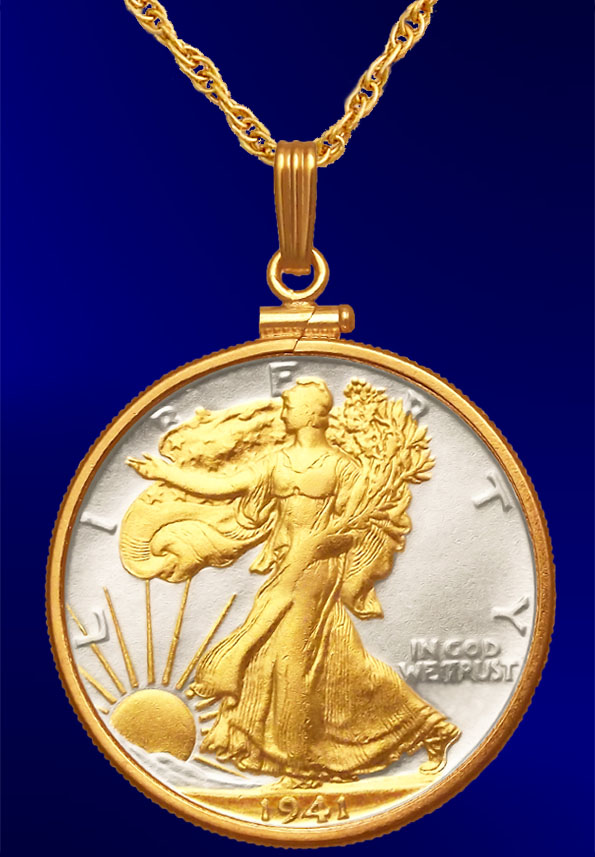 Walking Liberty Half Dollar Necklace NCM6-WL2-20B3