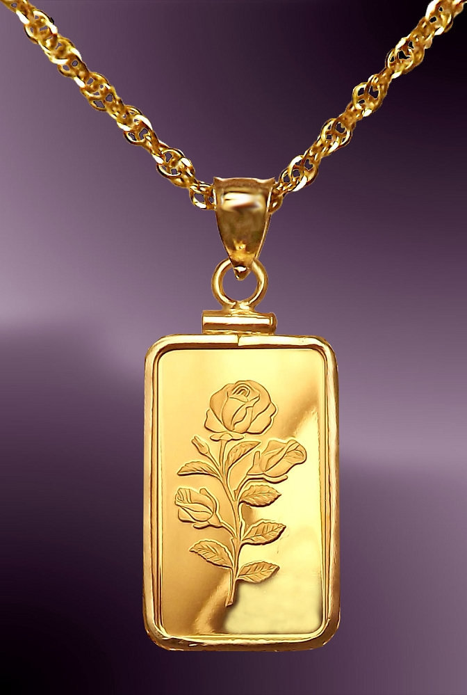 PAMP Rosa 5g .999 Fine Gold Bar Necklace NCM8-R058-B8