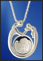 Sterling Mother and Child Angel Medallion Necklace NMC5-A5-18DC5