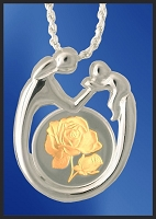 Sterling Mother and Child Rose Medallion Necklace NMC5-R2-18DC5