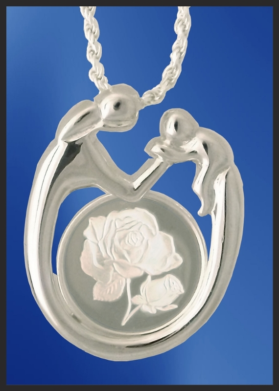 Sterling Mother and Child Rose Medallion Necklace NMC5-R5-18DC5