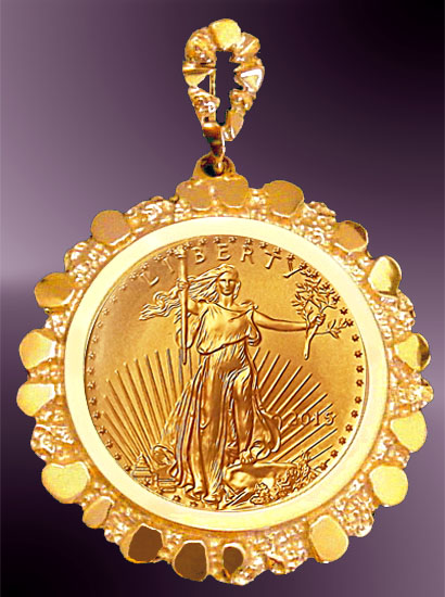 Gold Nugget $10 Gold Eagle Coin Pendant PNG8-10E