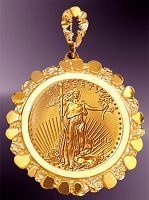 10 Dollar Gold Eagle Coin in Nugget Pendant PNG8-10E