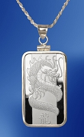 PAMP Dragon 10g Fine Proof Silver Bar Necklace NPCM5-D10-20DC5