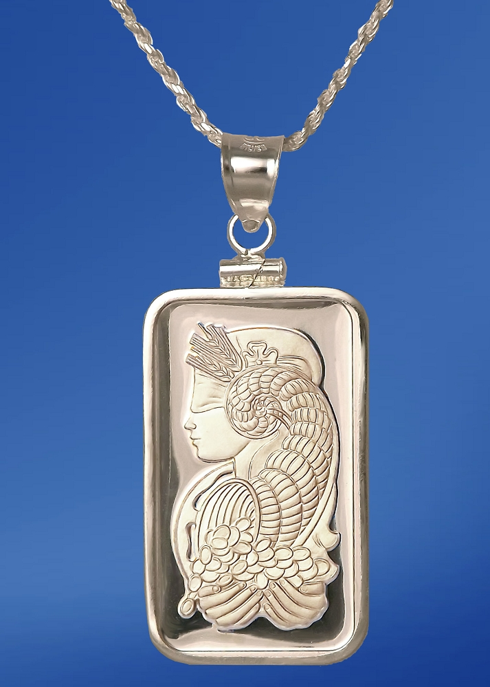 PAMP Fortuna 20g Fine Proof Silver Bar Necklace NPCM5-F20-28DC5