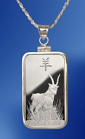 PAMP Goat 10g Fine Proof Silver Bar Necklace NPCM5-G10-20DC5