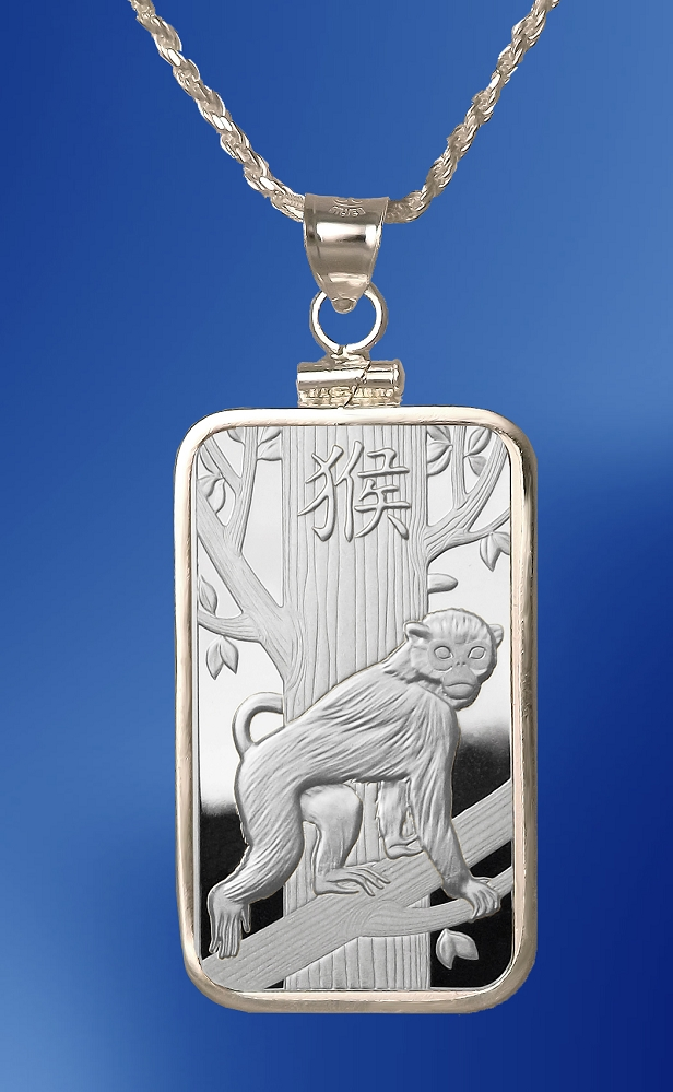 PAMP Monkey 10g Fine Proof Silver Bar Necklace NPCM5-MO10-20DC5