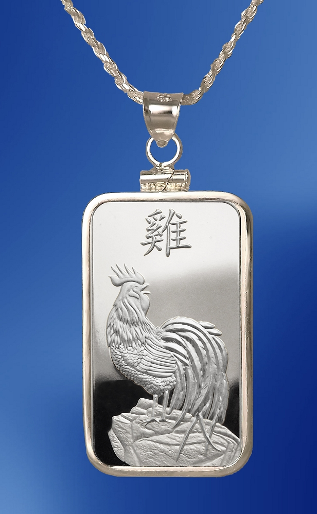 PAMP Rooster 10g Fine Proof Silver Bar Necklace NPCM5-RO10-20DC5