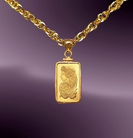 PAMP Fortuna 1g .9999 Fine Gold Bar Necklace NPCM8-F018-20B8