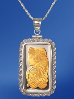 PAMP Fortuna 20g Fine Proof Silver Bar AureTone Necklace NPRR5-F202-28DC5