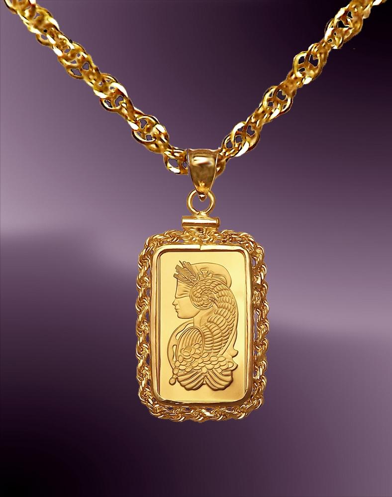61d2a3df37 PAMP Fortuna 1g 999.9 Fine Gold Bar Necklace NPRR8-F018-20B8