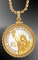 Statue of Liberty Dollar Rope Necklace NRM6-PSL2-20C3