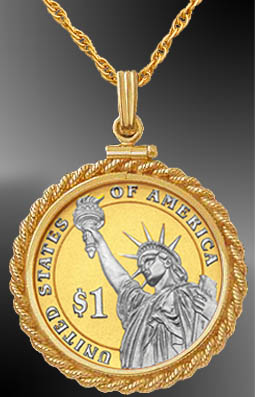 Statue of Liberty Dollar Platinum & Gold Coin Rope Necklace NRM6-PSL4P-20B3