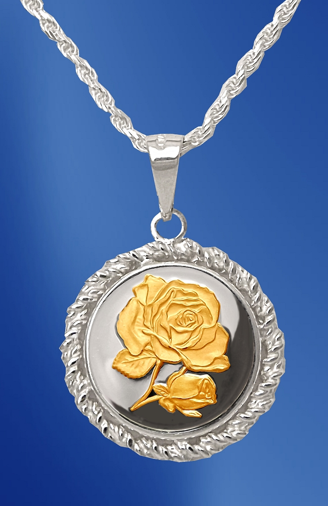 Sterling Silver Rose Medallion Rope Necklace NRR5-R2-18DC5-