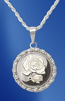 Sterling Silver Rose Medallion Rope Necklace NRR5-R5-18DC5