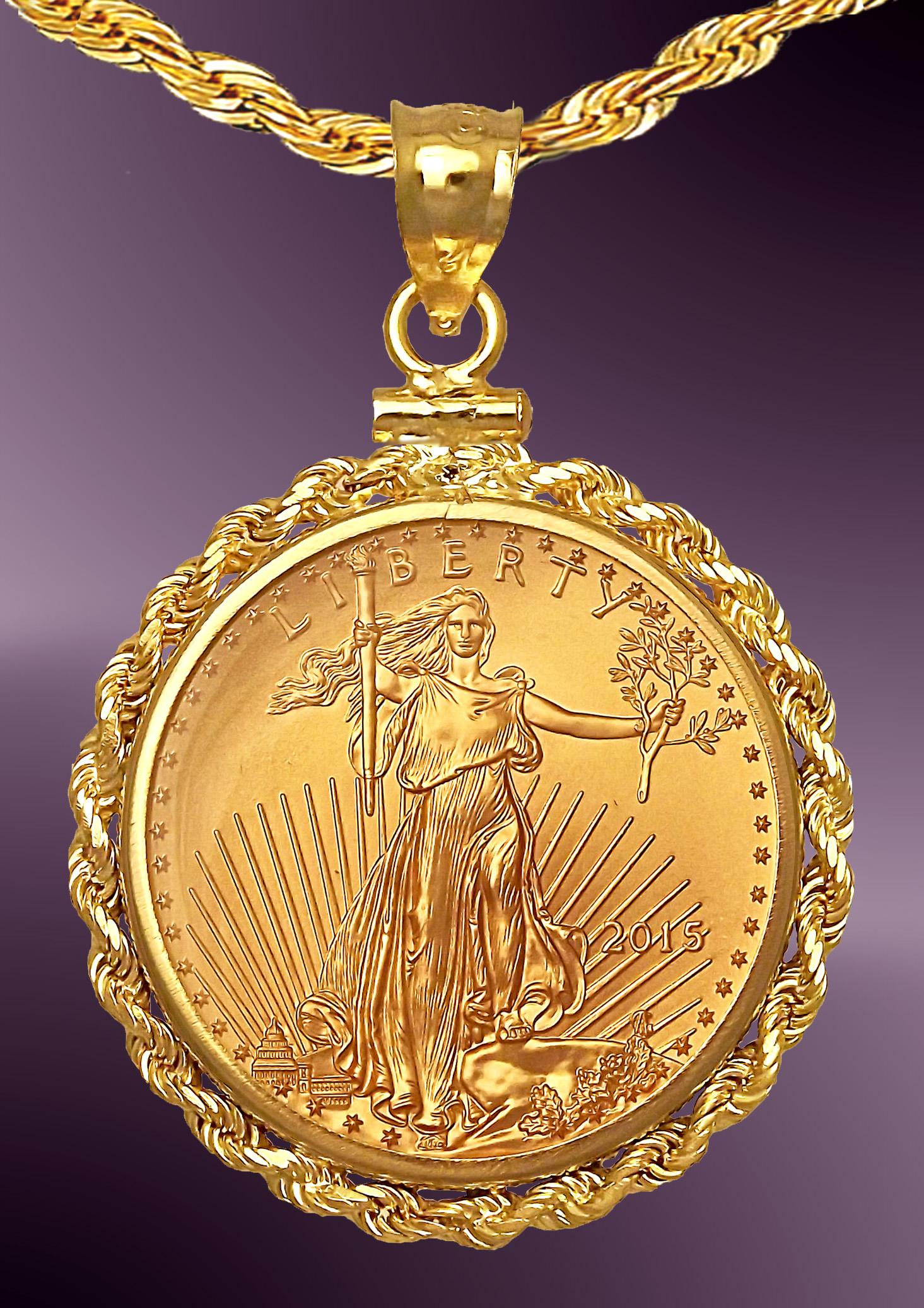 10 Dollar Gold Eagle Coin Rope Necklace NRR8-10E-C8