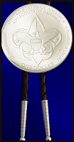 Boy Scouts of America Commemorative Uncirculated Silver Dollar Bolo(Bola) Tie O-BSA1