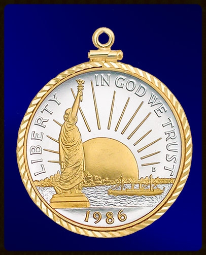 Statue of Liberty Half Dollar Sterling and Gold Pendant PDC0-SLH2