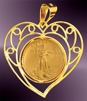 5 Dollar American Eagle Gold Coin Filagree Heart Pendant PHT8-5E
