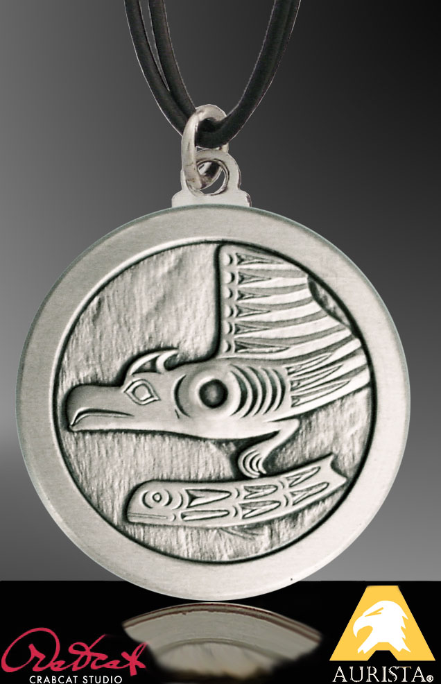 Antiqued Silvertone Native American Style Pendant PL-NWWEA9