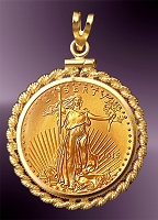 10 Dollar Gold Eagle Rope Mount Coin Pendant PRM8-10E