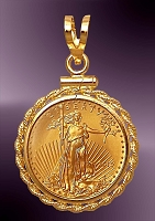 5 Dollar Gold Eagle Rope Pendant PRM8-5E