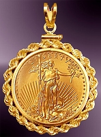 10 Dollar Gold Eagle Gold Coin Rope Pendant PRR8-10E