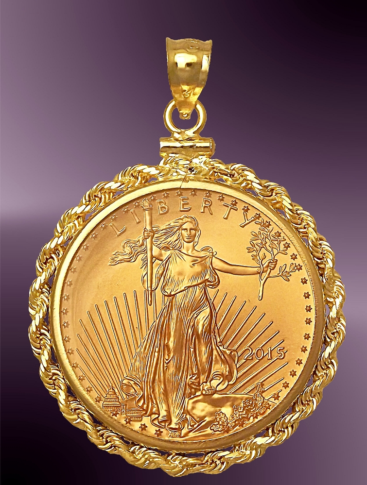 25 Dollar US Gold Eagle Rope Pendant PRR8-25E