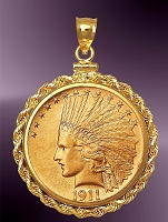 10 Dollar Indian Head Gold Coin Pendant PRR8-DE10