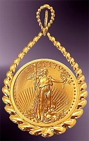 5 Dollar Gold Eagle 14K Teardrop Pendant PTR8-5E