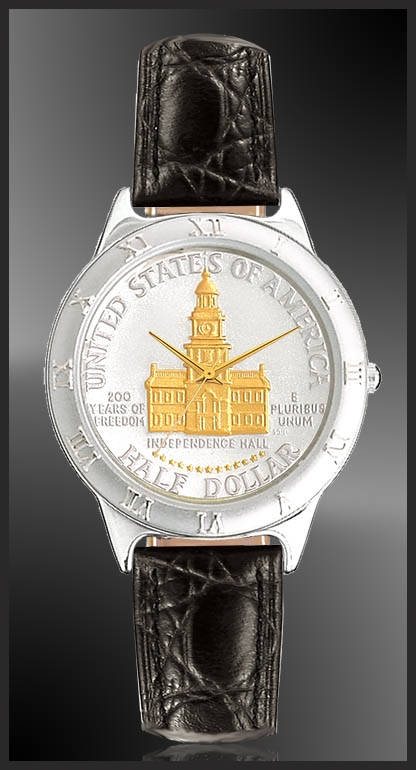 Independence Hall Half Dollar Mens Strap Coin Watch R111-NIH2-0