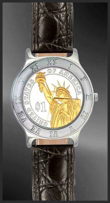 Presidential Dollar Ladies Leather Coin Watch R111-P02-L0