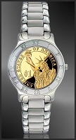 Statue of Liberty Proof Dollar Mens Bracelet Coin Watch R111-PSLP-1