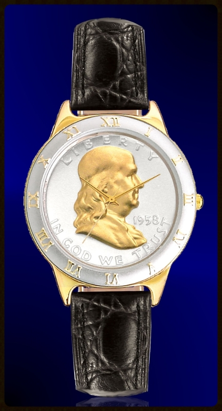 Ben Franklin Half Dollar Mens Strap Coin Watch R323-BF2-0