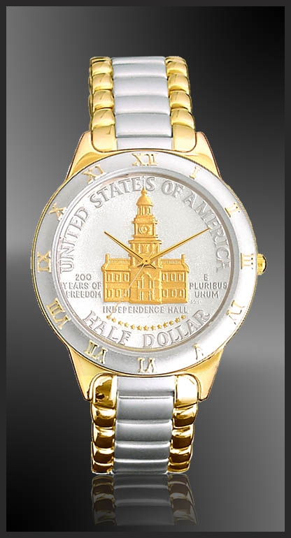Independence Hall Half Dollar Mens Bracelet Coin Watch R323-NIH2-2