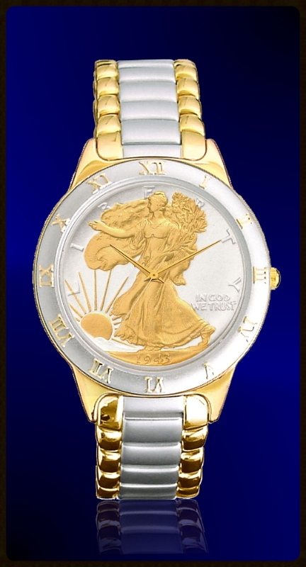Walking Liberty Half Dollar Ladies Bracelet Coin Watch